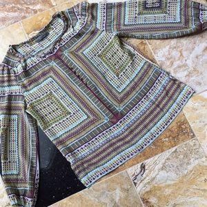 Robert Graham 100% silk w/brass filigree buttons